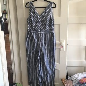 Classic LOFT grey and white NWT jumpsuit